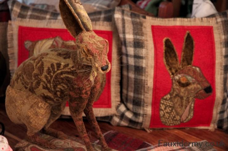 hare,fauxidermy,fauxtaxidermy,cushions,handmade,breconbeacons,trohy heads,art,animal,sculptures