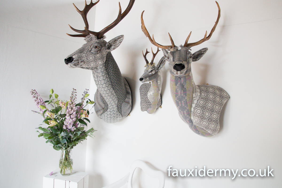 Textile Taxidermy, fauxidermy, textile art, faux taxidermy, helly powell textile artist, melin tregwynt, year of myths and legends, visitwales, beasts of the mabinogion, red stag, roe deer, fallow deer, Mabinogion,