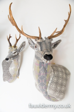 Textile Taxidermy, fauxidermy, textile art, faux taxidermy, helly powell textile artist, melin tregwynt, year of myths and legends, visitwales, beasts of the mabinogion, roe deer, fallow deer, Mabinogion,