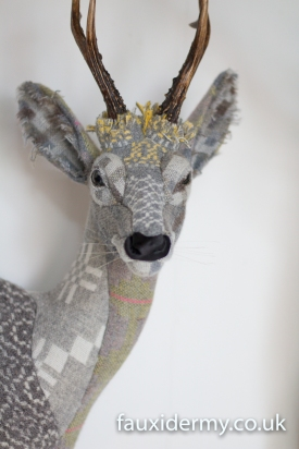 Textile Taxidermy, fauxidermy, textile art, faux taxidermy, helly powell textile artist, melin tregwynt, year of myths and legends, visitwales, beasts of the mabinogion, roe deer, Mabinogion,