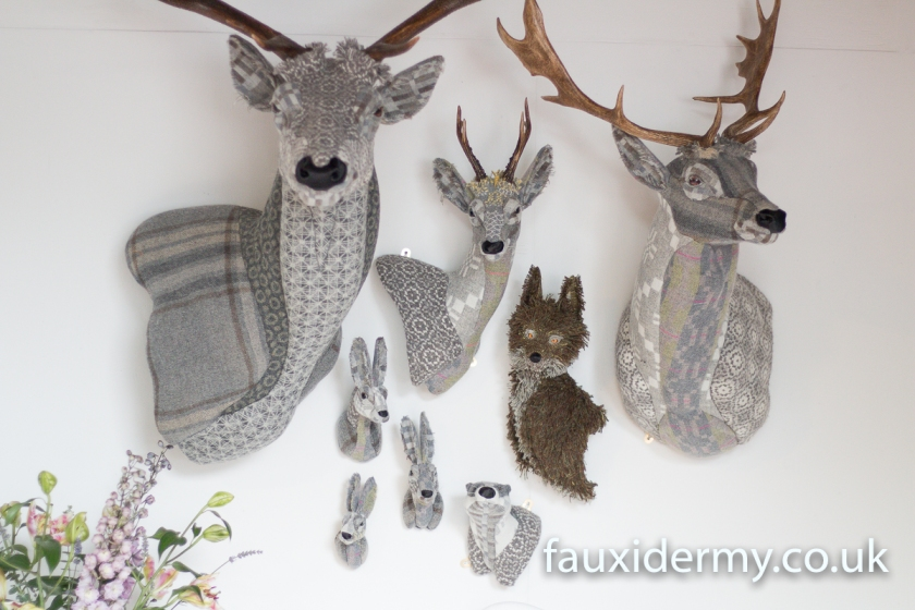 Textile Taxidermy, fauxidermy, textile art, faux taxidermy, helly powell textile artist, melin tregwynt, year of myths and legends, visitwales, beasts of the mabinogion, Leaping Hare badger, hare doe, hare buck, rabbit, fox, fallow deer, red stag, roe deer, Mabinogion,