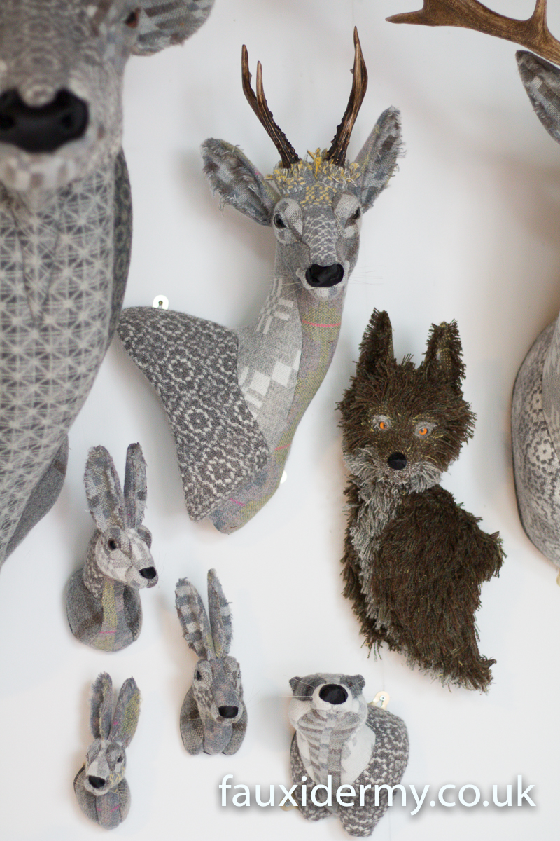 Textile Taxidermy, fauxidermy, textile art, faux taxidermy, helly powell textile artist, melin tregwynt, year of myths and legends, visitwales, beasts of the mabinogion, Leaping Hare,fox, badger, hare, rabbit, roe buck, deer, Mabinogion,
