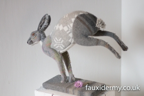 Textile Taxidermy, fauxidermy, textile art, faux taxidermy, helly powell textile artist, melin tregwynt, year of myths and legends, visitwales, beasts of the mabinogion, Leaping Hare, Mabinogion,