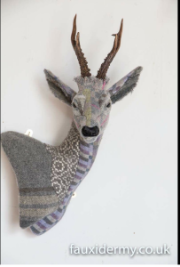 Textile Taxidermy, fauxidermy, helly powell textile artist, beasts of the mabinogion, melin tregwynt, faux taxidermy, textile sculpture, wales, handmade, fauxidermy uk, wool, myths and legends, visit wales, year of legends, roe deer, buck stag