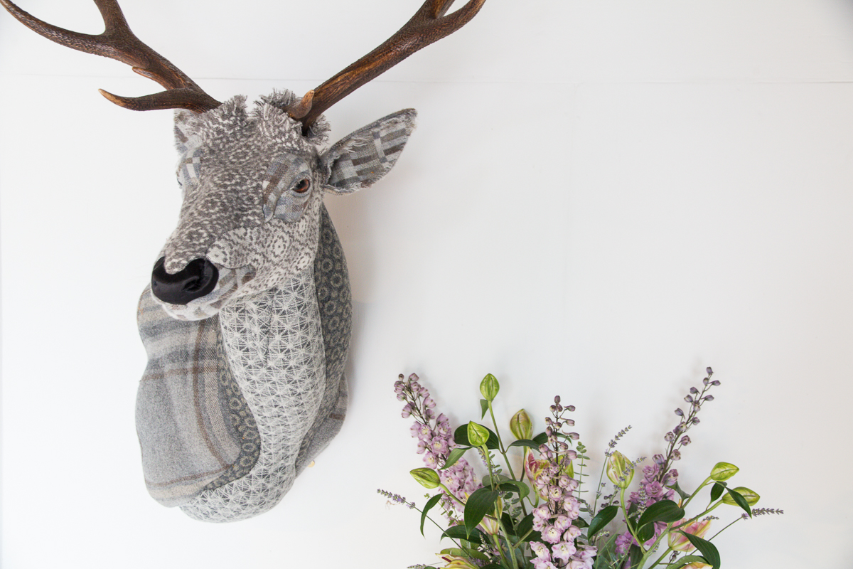 Textile Taxidermy, fauxidermy, textile art, faux taxidermy, helly powell textile artist, melin tregwynt, year of myths and legends, visitwales, beasts of the mabinogion, red stag, Mabinogion,